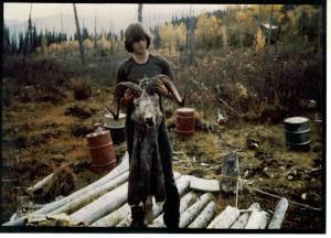 "Chris at Grave Lake in 1976 with 39"" ram."