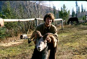 Chris Widrig with a ram at Grave Lake about 1979