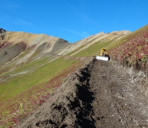 Mining exploration at work in the Yukon, destroying wilderness habitat.